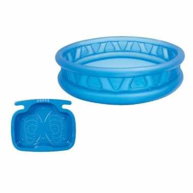 Intex rond opblaasbaar zwembad 188 cm blauw met voetenbadje