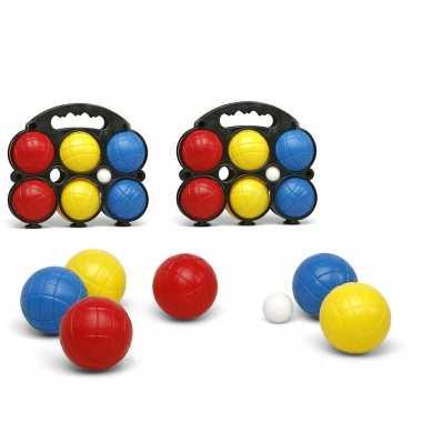 Jeu de boules sets met 12 gekleurde ballen in draagtas