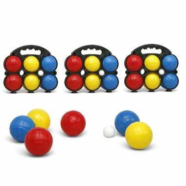 Jeu de boules sets met 18 gekleurde ballen in draagtas