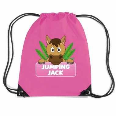 Jumping jack paarden rugtas gymtas roze voor kinderen