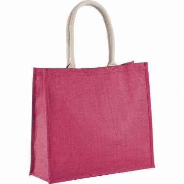 Jute fuchsia roze shopper/boodschappen tas 42 cm