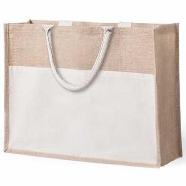 Jute katoenen naturel shopper boodschappen tas 44 5 cm