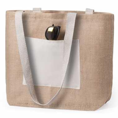 Jute/katoenen naturel shopper/boodschappentas 48 cm