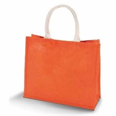 Jute oranje shopper boodschappen tas 42 cm
