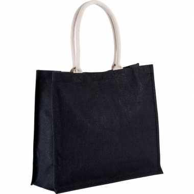 Jute zwarte shopper/boodschappen tas 42 cm