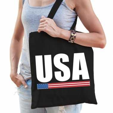 Katoenen amerika supporter tasje usa zwart