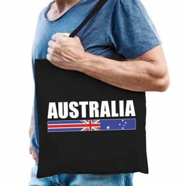 Katoenen australie supporter tasje australia zwart