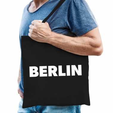 Katoenen berlijn/wereldstad tasje berlin zwart