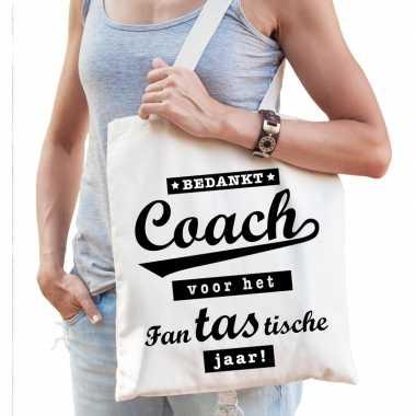 Katoenen cadeau tasje bedankt coach voor het fantastische jaar