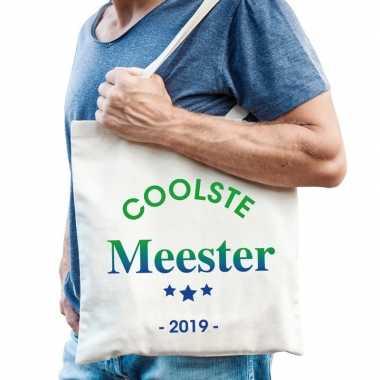 Katoenen cadeau tasje coolste meester 2019