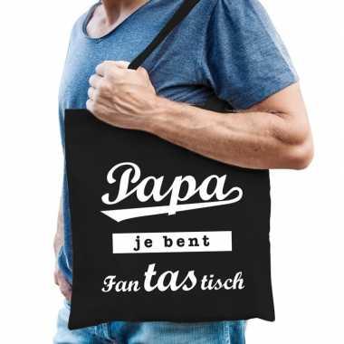 Katoenen cadeau tasje papa je bent fantastisch zwart