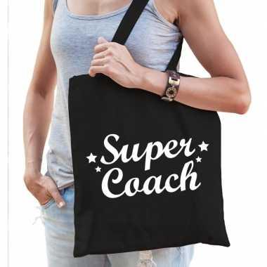 Katoenen cadeau tasje super coach zwart