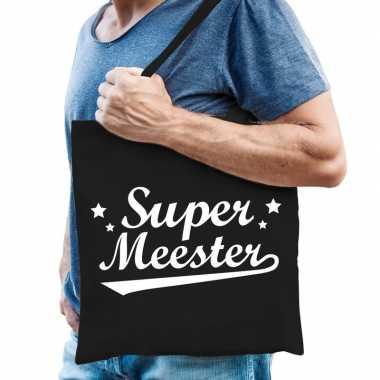 Katoenen cadeau tasje super meester zwart