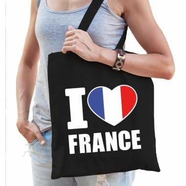 Katoenen frankrijk tasje i love france zwart