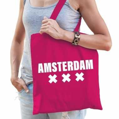 Katoenen holland/wereldstad tasje amsterdam roze