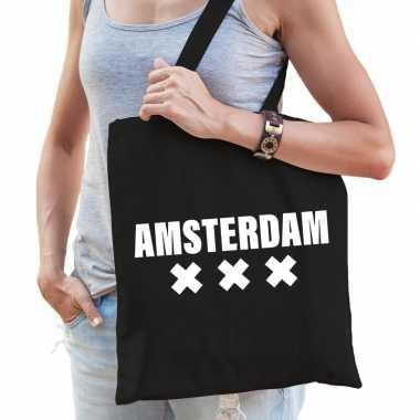 Katoenen holland/wereldstad tasje amsterdam zwart