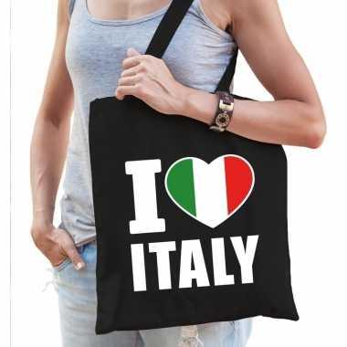 Katoenen italie tasje i love italy zwart