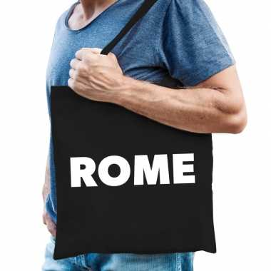 Katoenen italie/wereldstad tasje rome zwart