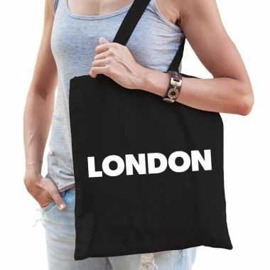 Katoenen londen/wereldstad tasje london zwart