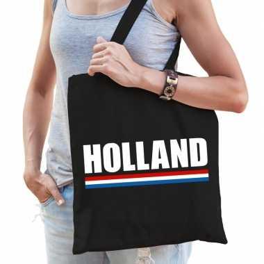Katoenen nederland supporter tasje holland zwart
