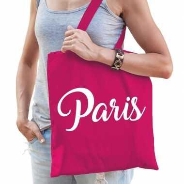 Katoenen parijs/wereldstad tasje paris roze