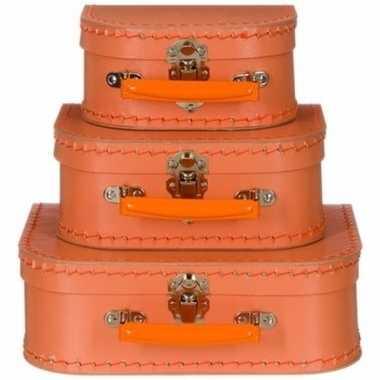 Kinderkoffertje pastel oranje 16 cm