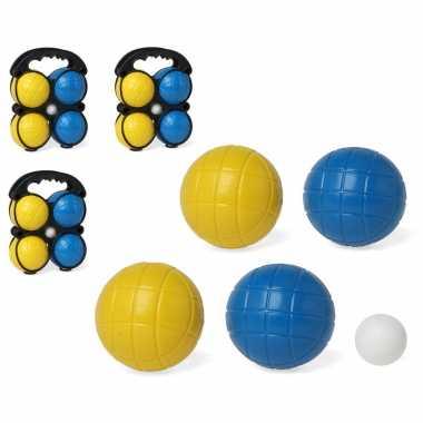 Kleine jeu de boules sets met 12 gekleurde ballen in draagtas