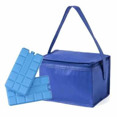 Kleine koeltas blauw voor 6 blikjes inclusief 2 koelelementen