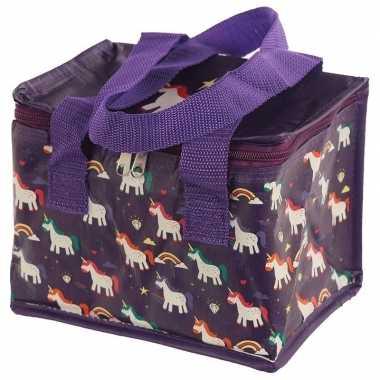 Kleine koeltas eenhoorn/unicorn print paars 20,5 cm 4 liter