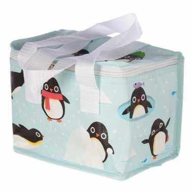 Kleine koeltas pinguin print blauw 20,5 cm 4 liter