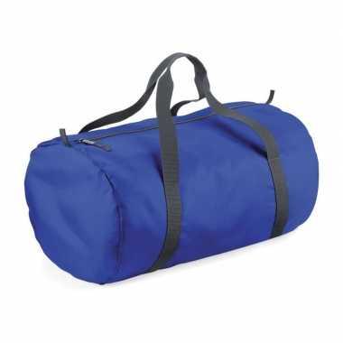 Kobalt blauwe ronde polyester sporttas/weekendtas 32 liter