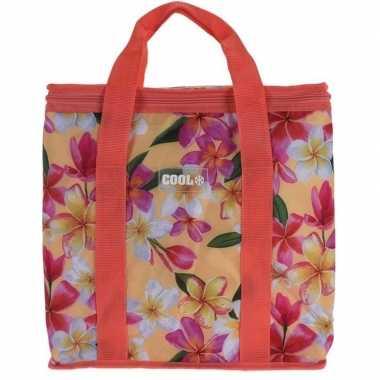 Koeltas hibiscus bloemen print koraal rood 24 liter