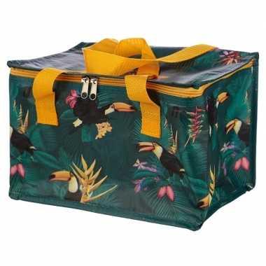 Koeltas toekan/tropische print groen 29 cm 12 liter
