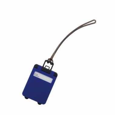 Kofferlabel kobalt blauw 9 5 cm