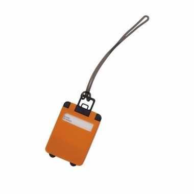 Kofferlabel oranje 9 5 cm