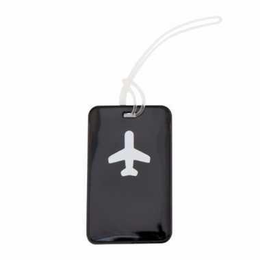 Kofferlabel zwart 11 5 cm