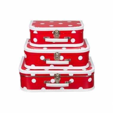 Koffertje rood polka dot 25 cm