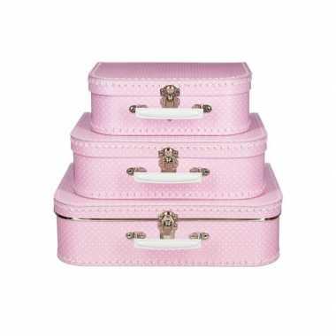 Koffertje roze met stippen wit 25 cm