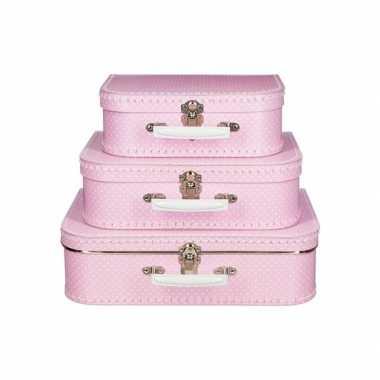 Koffertje roze met stippen wit 30 cm