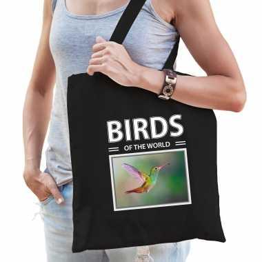 Kolibrie vogel tasje zwart volwassenen en kinderen birds of the world kado boodschappen tas 10265537