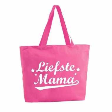 Liefste mama shopper tas fuchsia roze 47 cm