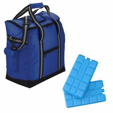 Luxe koeltas 35.5 x 38 x 20 cm blauw met 4x stuks koelelementen