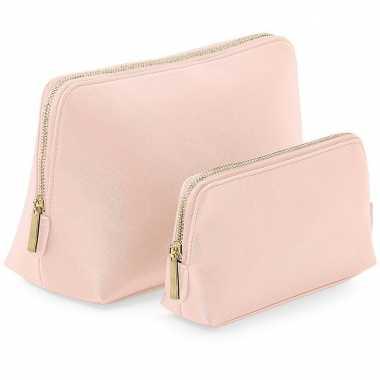 Luxe toilettas/make-up tas roze met rits 25 cm