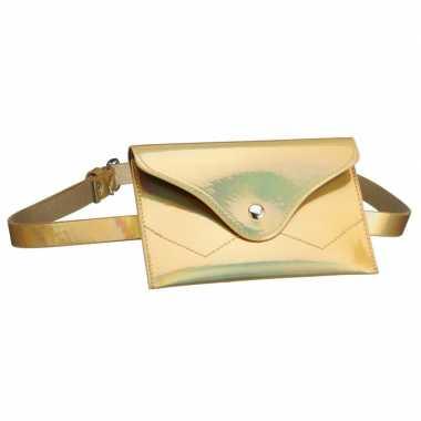Metallic goud mini heuptasje buideltasje aan riem voor dames