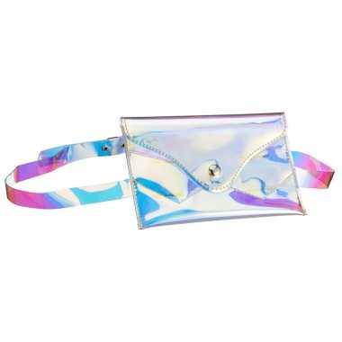 Metallic parelmoer mini heuptasje/buideltasje aan riem voor dame