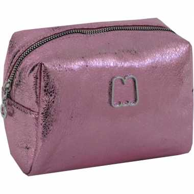 Metallic toilettas/make-up etui roze 22 cm