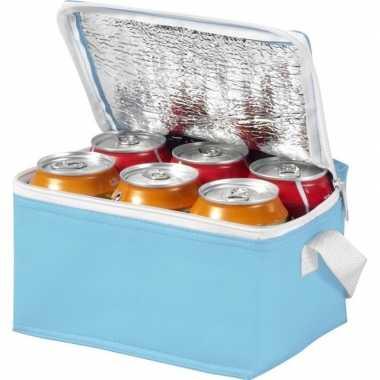 Mini koeltas lichtblauw/wit 20 cm voor 6/sixpack blikjes 3,5 lit