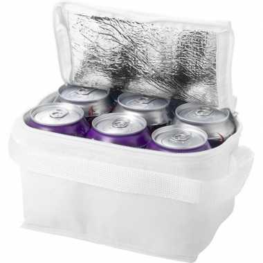 Mini koeltas wit 20 cm voor 6 sixpack blikjes 3 5 liter
