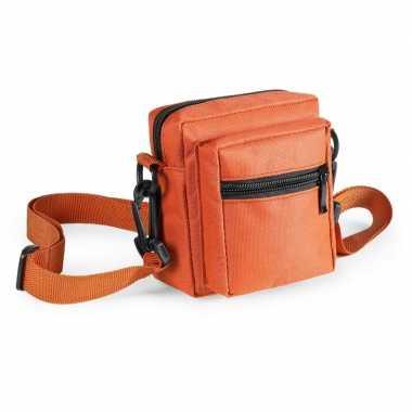 Mini schoudertasje oranje 11 cm