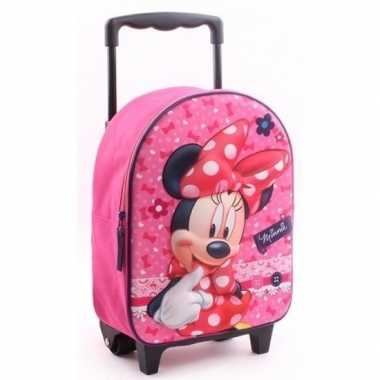 Minnie mouse handbagage reiskoffer/trolley 31 cm voor kinderen